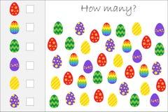 Hur många räknande lek med easter ägg för ungar, bildande matematikuppgift för utvecklingen av logiskt tänka, förträning vektor illustrationer