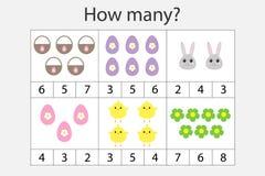 Hur många räknande lek med easter bilder för ungar, bildande matematikuppgift för utvecklingen av logiskt tänka, förträning stock illustrationer