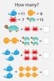 Hur många räknande lek med havdjur för ungar, bildande matematikuppgift för utvecklingen av logiskt tänka, förträning vektor illustrationer