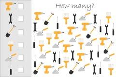 Hur många räknande lek med konstruktionsbilder för ungar, bildande matematikuppgift för utvecklingen av logiskt stock illustrationer