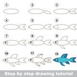 Hur man drar en blå fisk royaltyfri illustrationer