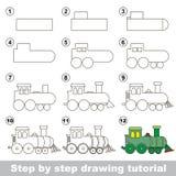 Hur man drar en lokomotiv stock illustrationer