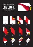 Hur man gör ett pappers- kuvert utan lim stock illustrationer