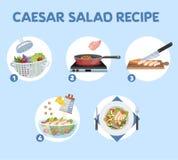 Hur man lagar mat caesar sallad hemma stock illustrationer
