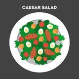 Hur man lagar mat caesar sallad hemma royaltyfri illustrationer