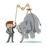 Hur man lyfter en elefant stock illustrationer