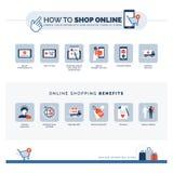Hur man shoppar direktanslutet och online-shoppa fördelar royaltyfri foto