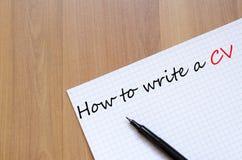Hur man skriver ett CV-begrepp Royaltyfria Bilder