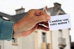 Hur mycket är ditt hus som är skriftligt i franskt? stock illustrationer