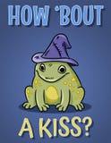 Hur om en kyssvykort Gullig groda med häxahatten Rolig affisch för magisk paddaillustration royaltyfri illustrationer