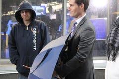 Huracán Sandy de la información de Jeff Smith del meteorólogo Foto de archivo libre de regalías