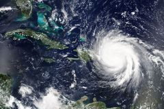 Huraganowy Maria robi lądowi w Puerto Rica w Wrześniu 2017 - elementy ten wizerunek meblujący NASA