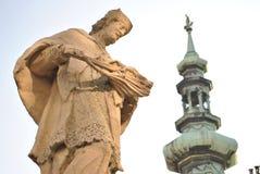 Statue, Historical center of Bratislava, Slovakia. Hurbanovo námestie. Historical center and buildings of Bratislava, capital of Slovakia Royalty Free Stock Photography