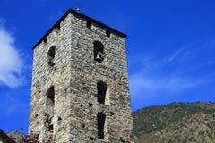 Hurch ¡ колокольни Ð St Stephen в Андорра-ла-Вьехе, княжества Андорры стоковые изображения rf