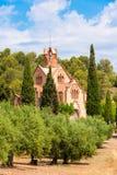 Hurch Ermita Mare de Deu de la Riera del ¡ di Ð in Les Borges del Camp, Tarragona, Catalunya, Spagna Copi lo spazio per testo ver immagini stock libere da diritti