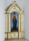 Сhurch interior iconostasis kiot, 3D render. Three dimensional rendering of Eastern Christianity church icon case Stock Photography