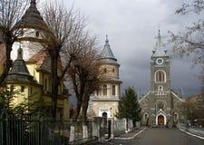 Сhurch komplex i Ivano-Frankivsk, Ukraina royaltyfria foton