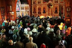 Сhurch service. Service held in the Belarussian Orthodox Church Royalty Free Stock Photography