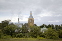 Сhurch of a Sign (Znamenskaya) and Church of the Deposition of the Robe (Rizopolozhenskaya) on a Mzhara. Stock Photo
