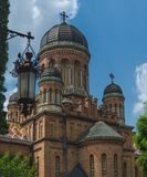 Hurch Trzy Saints w Chernivtsi mieście, Ukraina Poprzedni metropolita domu kościół obrazy royalty free