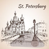 Hurch van de Verlosser in St. Petersburg, Rusland stock illustratie