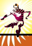 Hurdle athlete. Vector illustration of a young athletic man jumping a hurdle Stock Photo