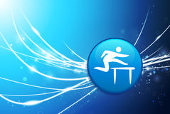 Hurdle Button on Blue Abstract Light Background Royalty Free Stock Photos