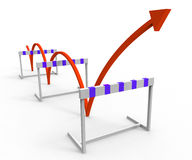 Hurdle Obstacle Shows Overcome Problems And Challenge Royalty Free Stock Photography