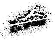 Hurdle-over-hurdles-white-grunge2 Immagine Stock