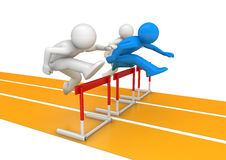 Hurdle race. 3d isolated on white background characters, sports series Royalty Free Stock Photos