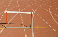 Hurdle race track. On hard surface Royalty Free Stock Photography