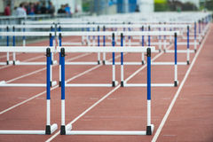 Hurdle on the track. Empty close up hurdle on the track Stock Image