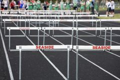 Hurdlers on starting line Royalty Free Stock Photo