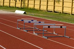 Hurdles. Small practice hurdles track in summer Stock Images