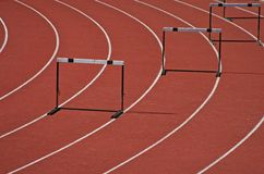 Hurdles. In a athletic field Stock Photos