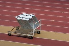 Hurdles. Set of hurdles in a stadium royalty free stock photos