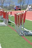 Hurdles alongside the track Stock Image