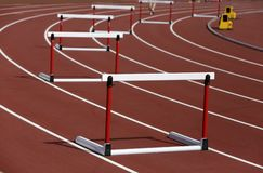 Hurdles on competition background royalty free stock photos