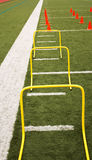 Hurdles and cones set up on a truf field Royalty Free Stock Photo
