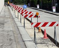 Hurdles in the construction site during the roadworks Stock Photography
