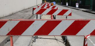 Hurdles in the construction site during the roadworks Royalty Free Stock Image