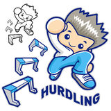 Hurdles game and jump vigorously Man Mascot. Sports Character De Royalty Free Stock Photo