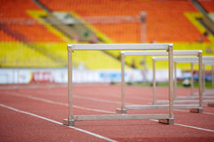 Hurdles on race tracks Stock Photography