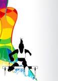 Hurdles running sport background Stock Image