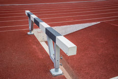 Hurdles in running track Royalty Free Stock Photo