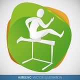 Hurdling спортсмен скача барьер, иллюстрация вектора иллюстрация штока