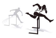 Hurdling. Illustrations of men running a hurdles sprint race Royalty Free Stock Photography