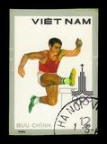 Hurdling, Summer Olympic Games 1980 - Moscow. VIETNAM - CIRCA 1980: A stamp printed in Vietnam shows hurdling, series Summer Olympic Games 1980 - Moscow, circa royalty free stock photos