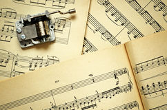 Hurdy-gurdy and music sheets Royalty Free Stock Images