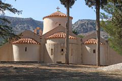 Huren achtermening van de kerk van Panagia Kera dichtbij Kritsa, Kreta, Gree stock foto